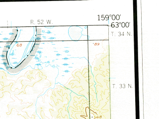 Reduced fragment of topographic map en--usgs--250k--068825--(1952)--N063-00_W162-00--N062-00_W159-00 in area of Reindeer, Horseshoe Lake, Shageluk Lake; towns and cities Grayling, Anvik, Holy Cross