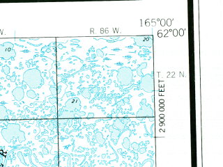 Reduced fragment of topographic map en--usgs--250k--068826--(1953)--N062-00_W168-00--N061-00_W165-00 in area of Hooper Bay, Kokechik, Apherwn; towns and cities Chevak, Hooper Bay, Scammon Bay
