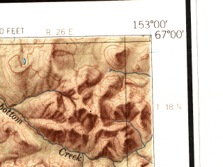 Reduced fragment of topographic map en--usgs--250k--068831--(1965)--N067-00_W156-00--N066-00_W153-00 in area of Norutak Lake, Lake Selby, Narvak Lake; towns and cities Hughes
