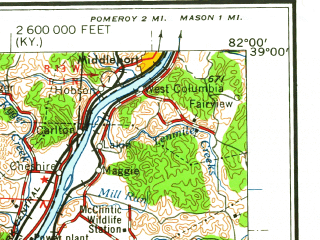 Reduced fragment of topographic map en--usgs--250k--068832--(1960)--N039-00_W084-00--N038-00_W082-00; towns and cities Huntington, Portsmouth, Ashland, Ironton, Mount Sterling