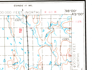 Reduced fragment of topographic map en--usgs--250k--068833--(1953)--N045-00_W100-00--N044-00_W098-00 in area of Lake Byron, Cottonwood Lake, Twin Lakes; towns and cities Huron, Lower Brule, Wessington, Miller