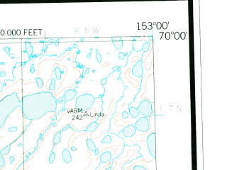 Reduced fragment of topographic map en--usgs--250k--068835--(1956)--N070-00_W156-00--N069-00_W153-00 in area of Colville
