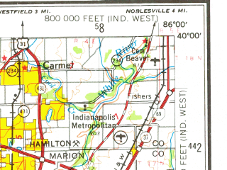 Reduced fragment of topographic map en--usgs--250k--068836--(1953)--N040-00_W088-00--N039-00_W086-00; towns and cities Indianapolis, Terre Haute, Bloomington, Greenwood, Carmel