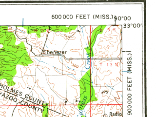 Reduced fragment of topographic map en--usgs--250k--068839--(1961)--N033-00_W092-00--N032-00_W090-00 in area of Tensas Bayou; towns and cities Jackson, Vicksburg, Clinton, Bastrop, Ridgeland