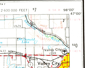 Reduced fragment of topographic map en--usgs--250k--068842--(1953)--N047-00_W100-00--N046-00_W098-00 in area of Alkaline Lake, Buffalo Lake, Green Lake; towns and cities Jamestown, Valley City, Monango, Cleveland, Jud