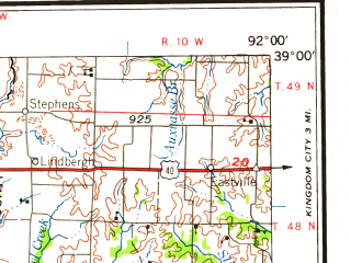 Reduced fragment of topographic map en--usgs--250k--068843--(1959)--N039-00_W094-00--N038-00_W092-00 in area of Osage; towns and cities Columbia, Jefferson City, Sedalia, Warrensburg, Clinton
