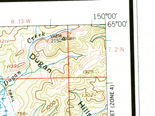 Reduced fragment of topographic map en--usgs--250k--068852--(1952)--N065-00_W153-00--N064-00_W150-00 in area of Wien Lake, West Twin Lake, East Twin Lake; towns and cities Manley Hot Springs