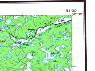 Reduced fragment of topographic map en--usgs--250k--068854--(1963)--N050-00_W096-00--N049-00_W094-00 in area of Shoal Lake, Whitemouth Lake, Dogtooth Lake; towns and cities Kenora, Jones, Sioux Narrows, Keewatin