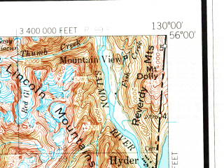 Reduced fragment of topographic map en--usgs--250k--068855--(1955)--N056-00_W132-00--N055-00_W130-00 in area of Punchbowl Lake, Ella Lake, Humpback Lake; towns and cities Ketchikan, Annette, Hyder, Metlakatla