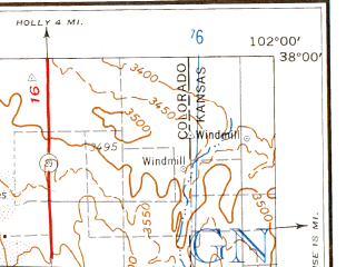 Reduced fragment of topographic map en--usgs--250k--068863--(1968)--N038-00_W104-00--N037-00_W102-00 in area of Two Buttes Reservoir; towns and cities La Junta, Two Buttes, Kim, Vilas