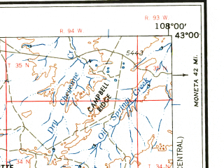 Reduced fragment of topographic map en--usgs--250k--068867--(1958)--N043-00_W110-00--N042-00_W108-00 in area of New Fork, Little Popo Agie, Jack Morrow Creek; towns and cities Lander, Hudson, Pinedale, Arapahoe