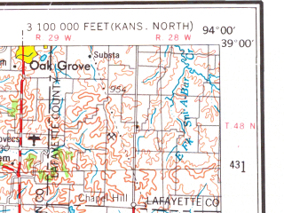 Reduced fragment of topographic map en--usgs--250k--068869--(1956)--N039-00_W096-00--N038-00_W094-00; towns and cities Overland Park, Lawrence, Olathe, Lenexa, Raytown