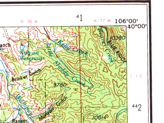 Reduced fragment of topographic map en--usgs--250k--068870--(1957)--N040-00_W108-00--N039-00_W106-00 in area of South Fk. White, Dillion Reservoir, Turquoise Lake; towns and cities Aspen, Glenwood Springs, New Castle, Vail, Red Cliff