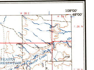 Reduced fragment of topographic map en--usgs--250k--068873--(1959)--N048-00_W110-00--N047-00_W108-00 in area of Wild Horse Lake, War Horse Lake; towns and cities Lewistown, Winnett, Denton, Grass Range
