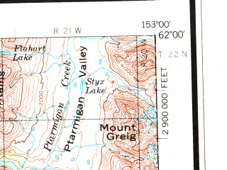Reduced fragment of topographic map en--usgs--250k--068874--(1958)--N062-00_W156-00--N061-00_W153-00 in area of Tundra Lake, Two Lakes, Neacola; towns and cities Lime Village