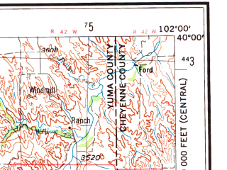 Reduced fragment of topographic map en--usgs--250k--068875--(1954)--N040-00_W104-00--N039-00_W102-00 in area of Bony Reservoir; towns and cities Seibert, Hugo, Stratton