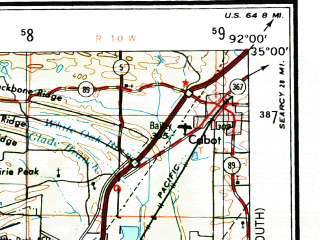 Reduced fragment of topographic map en--usgs--250k--068877--(1955)--N035-00_W094-00--N034-00_W092-00 in area of Lake Ouachita; towns and cities Little Rock, North Little Rock, Pine Bluff, Hot Springs, Jacksonville