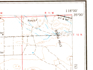 Reduced fragment of topographic map en--usgs--250k--068882--(1959)--N035-00_W120-00--N034-00_W118-00 in area of Rosamond Lake (dry), Lake Cachuma, Castaic Lake; towns and cities Los Angeles, Oxnard, Santa Barbara, East Los Angeles, Thousand Oaks