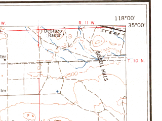 Reduced fragment of topographic map en--usgs--250k--068882--(1966)--N035-00_W120-00--N034-00_W118-00 in area of Rosamond Lake (dry), Lake Cachuma, Castaic Lake; towns and cities Los Angeles, Oxnard, Santa Barbara, El Monte, Simi Valley