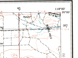Reduced fragment of topographic map en--usgs--250k--068882--(1975)--N035-00_W120-00--N034-00_W118-00 in area of Rosamond Lake (dry), Lake Cachuma, Castaic Lake; towns and cities Los Angeles, Oxnard, Santa Barbara, Glendale, East Los Angeles