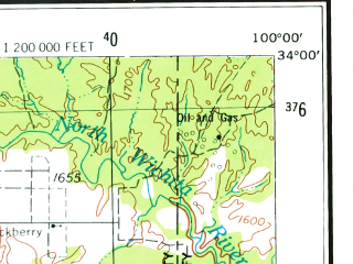 Reduced fragment of topographic map en--usgs--250k--068884--(1954)--N034-00_W102-00--N033-00_W100-00 in area of Salt Fk. Of The Brazos, White, White Reservoir; towns and cities Lubbock, Slaton, Abernathy, Idalou, Crosbyton