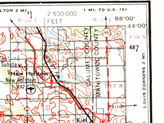Reduced fragment of topographic map en--usgs--250k--068887--(1957)--N044-00_W090-00--N043-00_W088-00; towns and cities Madison, Fond Du Lac, West Allis, Waukesha, Wauwatosa