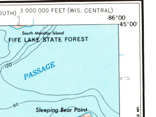 Reduced fragment of topographic map en--usgs--250k--068888--(1954)--N045-00_W088-00--N044-00_W086-00 in area of Crystal Lake, Hamlin Lake, Sturgeon Bay; towns and cities Green Bay, Manitowoc, Two Rivers, Manistee, Bellevue Town