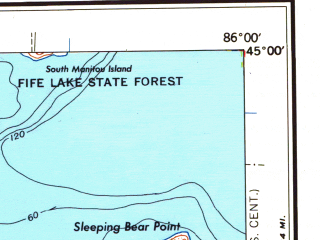Reduced fragment of topographic map en--usgs--250k--068888--(1958)--N045-00_W088-00--N044-00_W086-00 in area of Crystal Lake, Hamlin Lake, Sturgeon Bay; towns and cities Green Bay, Manitowoc, Two Rivers, Manistee, Bellevue Town