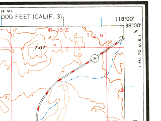 Reduced fragment of topographic map en--usgs--250k--068891--(1963)--N038-00_W120-00--N037-00_W118-00 in area of San Joaquin, Lake Crowley, Shaver Lake; towns and cities Auberry, Mammoth Lakes, Mariposa