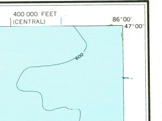 Reduced fragment of topographic map en--usgs--250k--068892--(1961)--N047-00_W088-00--N046-00_W086-00 in area of Dead Storage Basin, Silver Lake; towns and cities Marquette, K. I. Sawyer Afb, Ishpeming, Munising, Trowbridge Park