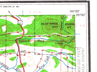 Reduced fragment of topographic map en--usgs--250k--068897--(1962)--N035-00_W096-00--N034-00_W094-00 in area of Kiamichi, Sardis Lake, Broken Bow Lake; towns and cities Mcalester, Hugo, Mena, Albion, Kiowa