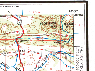 Reduced fragment of topographic map en--usgs--250k--068897--(1965)--N035-00_W096-00--N034-00_W094-00 in area of Kiamichi, Sardis Lake, Broken Bow Lake; towns and cities Mcalester, Mena, Hugo, Clayton, Savanna