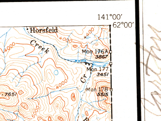 Reduced fragment of topographic map en--usgs--250k--068899--(1951)--N062-00_W144-00--N061-00_W141-00 in area of Chitina, Rock Lake, Ptarmigan Lake; towns and cities Mccarthy