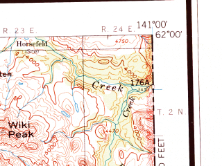 Reduced fragment of topographic map en--usgs--250k--068899--(1960)--N062-00_W144-00--N061-00_W141-00 in area of Chitina, Rock Lake, Ptarmigan Lake; towns and cities Mccarthy