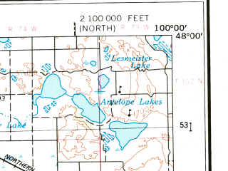 Reduced fragment of topographic map en--usgs--250k--068900--(1954)--N048-00_W102-00--N047-00_W100-00 in area of Crooked Lake, Krueger Lake, Lake Helen; towns and cities Pick City, Benedict, Wilton