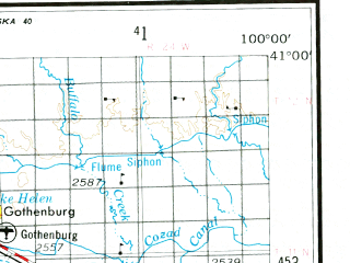 Reduced fragment of topographic map en--usgs--250k--068901--(1954)--N041-00_W102-00--N040-00_W100-00 in area of Hugh Butler Lake, Swanson Lake, Enders Reservoir; towns and cities Mccook, Indianola, Stockville, Bartley