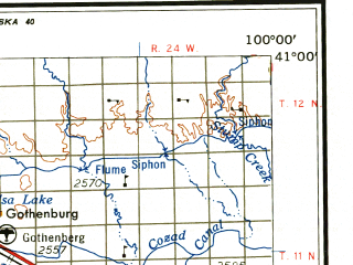 Reduced fragment of topographic map en--usgs--250k--068901--(1958)--N041-00_W102-00--N040-00_W100-00 in area of Hugh Butler Lake, Swanson Lake, Enders Reservoir; towns and cities Mccook, Gothenburg, Madrid, Cambridge