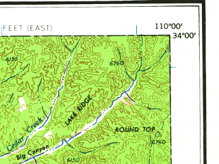 Reduced fragment of topographic map en--usgs--250k--068907--(1964)--N034-00_W112-00--N033-00_W110-00 in area of Theodore Roosevelt Lake, San Carlos Reservoir, Apache Lake; towns and cities Mesa, Scottsdale, Tempe, Chandler, Gilbert