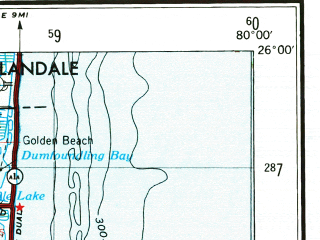 Reduced fragment of topographic map en--usgs--250k--068908--(1956)--N026-00_W082-00--N025-00_W080-00 in area of Barnes Sound, Tarpon Bay, Lake Ingraham; towns and cities Miami, Hialeah, Kendall, Miami Beach, Carol City