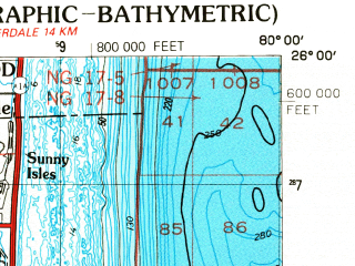 Reduced fragment of topographic map en--usgs--250k--068908--(1988)--N026-00_W082-00--N025-00_W080-00 in area of Barnes Sound, Tarpon Bay, Lake Ingraham; towns and cities Miami, Hialeah, Carol City, Kendall, Miami Beach