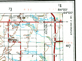 Reduced fragment of topographic map en--usgs--250k--068909--(1954)--N044-00_W086-00--N043-00_W084-00 in area of Hardy Dam Pond, Wixom Lake, Sanford Lake; towns and cities Midland, Mount Pleasant, Saginaw Township North, Big Rapids, Northview