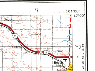 Reduced fragment of topographic map en--usgs--250k--068911--(1953)--N047-00_W106-00--N046-00_W104-00; towns and cities Miles City, Wibaux, Baker, Beach