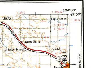 Reduced fragment of topographic map en--usgs--250k--068911--(1958)--N047-00_W106-00--N046-00_W104-00; towns and cities Miles City, Wibaux, Baker, Beach