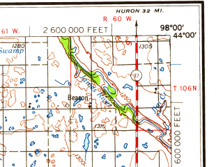 Reduced fragment of topographic map en--usgs--250k--068915--(1959)--N044-00_W100-00--N043-00_W098-00 in area of White, Lake Andes, Red Lake; towns and cities Mitchell, Plankinton, Delmont, Winner