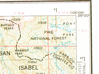 Reduced fragment of topographic map en--usgs--250k--068920--(1956)--N039-00_W108-00--N038-00_W106-00 in area of Tomichi Creek, Gunnison, Blue Mesa Reservoir; towns and cities Gunnison, Montrose, Crested Butte, Olathe, Orchard City
