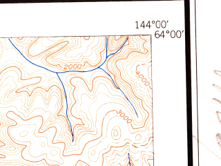 Reduced fragment of topographic map en--usgs--250k--068921--(1950)--N064-00_W147-00--N063-00_W144-00 in area of Lake George, Summit Lake, Sevenmile Lake; towns and cities Fort Greely, Healy Lake, Paxson