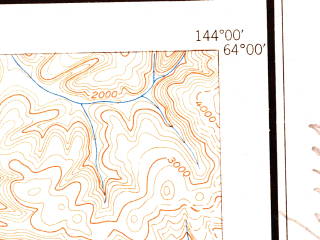 Reduced fragment of topographic map en--usgs--250k--068921--(1951)--N064-00_W147-00--N063-00_W144-00 in area of Lake George, Summit Lake, Sevenmile Lake; towns and cities Fort Greely, Healy Lake, Paxson