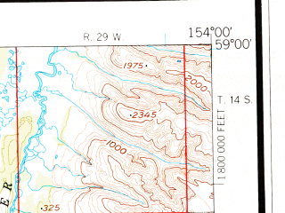 Reduced fragment of topographic map en--usgs--250k--068922--(1951)--N059-00_W156-00--N058-00_W154-00 in area of Iliuk Arm, North Arm, Bay Of Islands