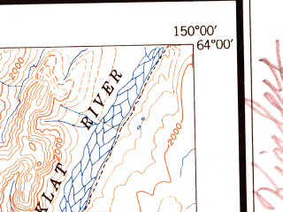Reduced fragment of topographic map en--usgs--250k--068923--(1952)--N064-00_W153-00--N063-00_W150-00 in area of Lake Minchumina, Chilchukabena Lake, Starr Lake; towns and cities Lake Minchumina