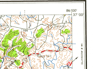 Reduced fragment of topographic map en--usgs--250k--068928--(1959)--N037-00_W088-00--N036-00_W086-00 in area of Cumberland; towns and cities Nashville, Clarksville, Bowling Green, Hendersonville, Hopkinsville